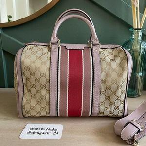 Gucci Boston GG Supreme Canvas Lt Pink Nude Bag